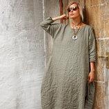 Платье льняное бочонок, туника, рубаха оверсайз, размеры от 40 до 80, любой рост