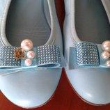 Blumarine vero cuoioиталия нежно голубые нарядные туфли со стразами 30р 19см
