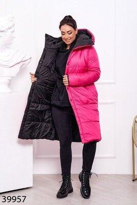 Пальто/куртка зимняя двусторонняя. 44 по 60.Сумочка с поясом в подарок.