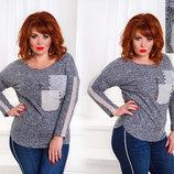 Женская стильная тёплая туника в больших размерах 2305 Ангора Кармашки Контраст Стразы .