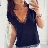 Женская блуза с кружевом Есения.размер 42-44, 46-48