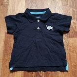 Темно синяя футболка-поло для мальчика размер 62-68, 23-134 Ю