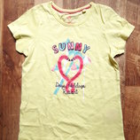 Желтая футболка с принтом размер 110-116, 23-156 Ю