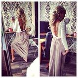 Эффектное платье в пол с открытой спинкой 2 варианта цвета