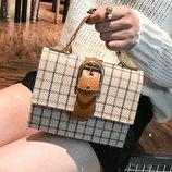 Каркасная тканевая сумка сундук с пряжкой В Наличии