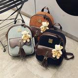 Шикарный вельветовый рюкзак с кисточками и брелком мишкой В Наличии