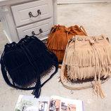 Стильная женская сумка под замшу с бахромой В Наличии