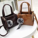 Милые женские сумочки с помпоном и галстучком В Наличии