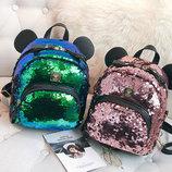 Городской рюкзак с пайетками и ушками медвежонка В Наличии
