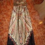 Длинный нарядный сарафан макси с восточным принтом,сток