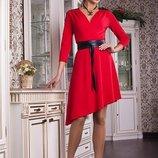 Платье асимметричного кроя пояс ,отличного качества