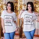 Летняя свободная женская футболка в больших размерах 3250 COLD LOVE .