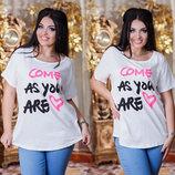 Летняя свободная женская футболка в больших размерах 3253 COME AS YOU .