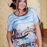 Стильная женская футболка в больших размерах 7427 VENEZI .