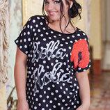 Стильная женская футболка в больших размерах 7423 Bella .