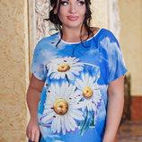 Стильная женская футболка в больших размерах 7417 Ромашки