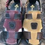 Сандалии кожаные Kristan Nubuck синие, бежевые, коричневые, бордо