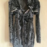 Велюровый нарядный комплект с пайетками блуза на шлейках с балеро