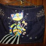 Юбка джинсовая с росписью