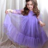 Платье детское Шани с фатином снежинка новогоднее