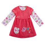 Велюровое платье TM Nova розовое с бабочками