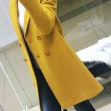 Осенне-Весеннее демисезонное женское шерстяное пальто прямого кроя желтого цвета
