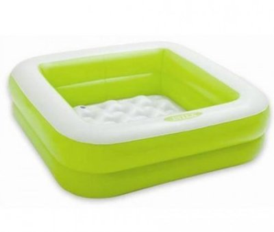 Intex 57100 85x85x23 см. Детский квадратный надувной бассейн салатовый