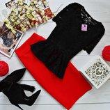 Нарядный костюм двойка баска гипюр и юбка миди кукуруза разные цвета от рр40 по рр46