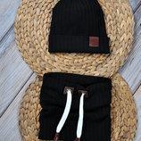 Набор трикотажная шапочка со снудом шапка хомут 42 44 46 48 50 52 54 Hills черный