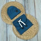 Набор трикотажная шапочка со снудом шапка хомут 42 44 46 48 50 52 54 Hills темная-бирюза