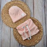Набор трикотажная шапочка со снудом шапка хомут 42 44 46 48 50 52 54 Hills персик