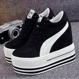 Сникерсы кроссовки на платформе танкетка. Коллекция 2018