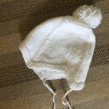 0-6 мес белоснежная шапочка с бубоном, акрил