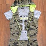 Новинка летние костюмы троечки в стиле милитари для мальчиков р. 116-146