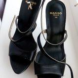 Шикарные босоножки Mango новые р.38, 5 черные Оригинал