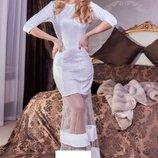 Вечернее макси платье в пол праздничное выпускное С-М размер. Белое новое
