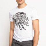 мужская футболка белая DeFacto / Де Факто с индейцем на груди