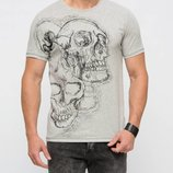 Мужская футболка серая LC Waikiki / Лс Вайкики с черепом на груди