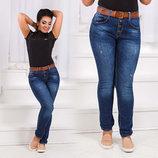 Женские стильные джинсы Бойфренд в больших размерах 0658.