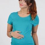 Облегающая футболка для беременных и кормящих Maggie морская волна