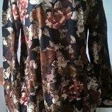 Красивая Удлиненная блуза туника с цветами.