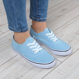 Кеды женские голубые на платформе Blue Star на шнуровке