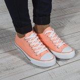 Кеды женские оранжевые Vices Польша на шнуровке