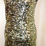Нарядное золотистое платье паетки ог 80-90, дл. 82