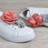 Кеды женские белые с текстильными цветами Love shoes Польша