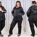 Женский зимний спортивно-прогулочный костюм синтепон мех в больших размерах 129-1 Super LOVE в р