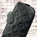 Новый кожаный женский клатч. Большой жіночий гаманець чорний. Женская кожаная косметичка