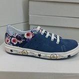 Кожаные яркие кроссовки, кеды для девочки Krokky