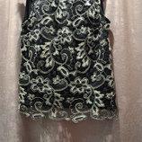 Майка F&F черная ажурная нарядная размер М 12 ажур с золотым люрексом