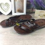 Шлепанцы Finelex коричневые кожзам купить мужские сандалии вьетнамки тапки